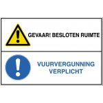 BRADY 223728-Pictogram Besloten Ruimte - GEVAAR! Besloten ruimte / Vuurvergunning verplicht (STN 821)-klium
